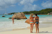 Girls at Latio Beach at Praslin Seychelles