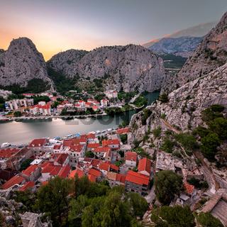 Aerial View on Omis Old Town and Cetina River Gorge, Dalmatia, Croatia