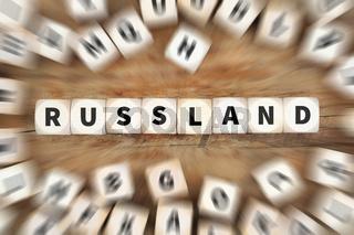Russland Konflikt Krise Würfel Business Konzept