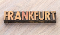Frankfurt word abstract in wood type