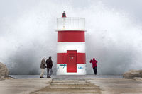Lighthouse at storm, Porto de Abrigo da Nazare, Port, Nazare, Oeste, Leiria District, Portugal, Euro