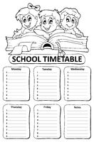 Black and white school timetable theme 6 - picture illustration.