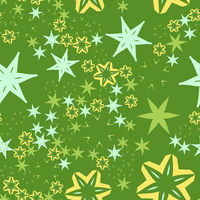 Stars and flowers on Retro stylized seamless warping paper pattern