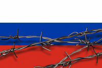 Flag of Russia with barbed wire