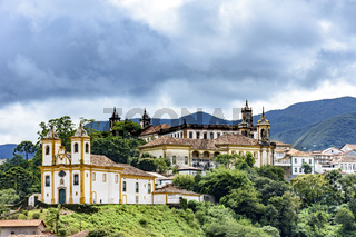 Historical churches among the houses and streets of Ouro Preto