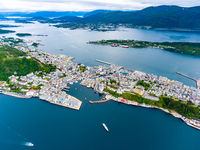 City of Alesund Norway Aerial footage