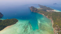 Aerial drone photo of sea and coastline from iconic tropical beach of Phi Phi island