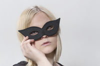 Blonde woman with mask