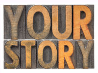 your story word abstract in wood type