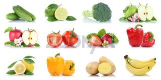 Früchte Obst und Gemüse Apfel Tomaten Orange Zitrone Bananen Farben Sammlung Freisteller freigestellt isoliert