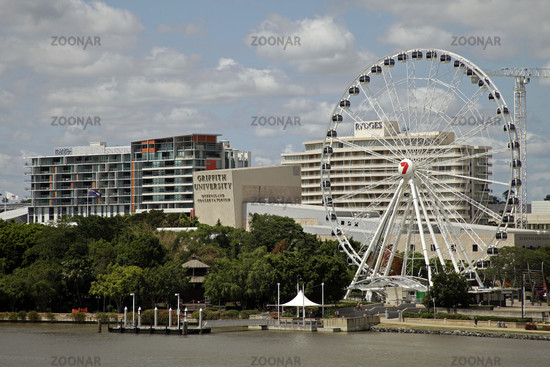 Riesenrad Wheel of Brisbane und UniversitŠt Griffith University an der South Bank in Brisbane