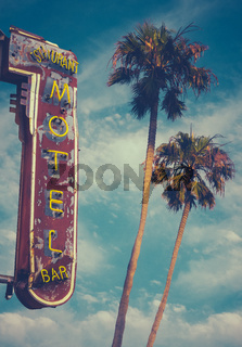 Motel Sign And Palms