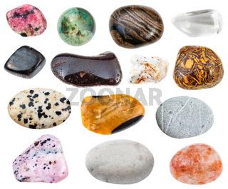 various stones (anthophyllite, hydrogoethite, etc)