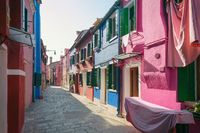Colorful street in Burano, near Venice , Italy