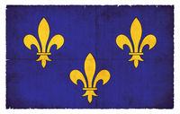 Grunge flag of Ile de France (France)