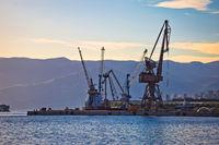 Port city of Rijeka cranes at harbor view