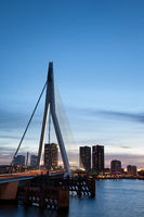 City of Rotterdam at dusk in Holland