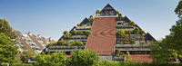 pyramid-shaped appartment house Huegelhaus, Marl, Ruhr Area, Germany, Europe
