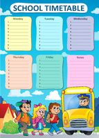 Weekly school timetable theme 9 - picture illustration.