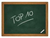 top 10 - text auf kreidetafel - 3d illustration