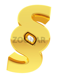 Gold section sign with gradient reflections isolated on white. High resolution 3D image