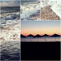 Happy summertime theme photo collage composed of colorized images of Sea of Azov and beach Umbrellas silhouettes.