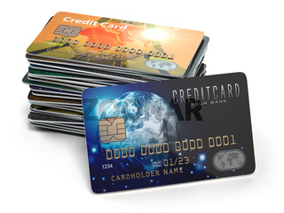 Stack of colored credit cards isolated on white background,