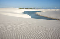 Lencois Maranhenses National Park, Barreirinhas, Brazil, low, flat, flooded land, overlaid with large, discrete sand dunes with blue and green lagoons