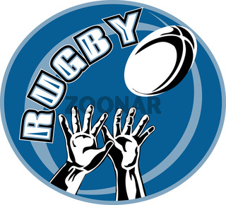 rugby player hands catch ball