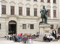 Tourists at the Fugger monument in Augsburg