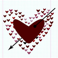 Love concept of hearts and big heart in centre