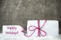 White Gift, Snow, Label, Text Happy Holidays