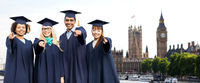 students or bachelors pointing at you in london