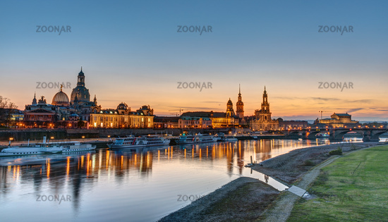 The Towers of Dresden at the banks of the river Elbe during sunset