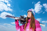 Sport girl with skis
