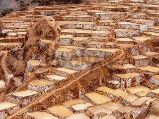 Salinas de Maras - salt evaporation ponds near town of Maras in Peru