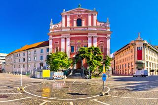Presern square in Ljubljana panoramic view