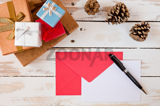 Closeup of Christmas letter over a rustic wooden table