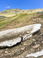Rest of a Snowdrift in Sommer, Hohe Mut, Obergurgl, Tirol, Austria