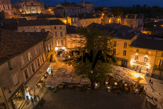 View on Centre Market Saint-Emilion at Night