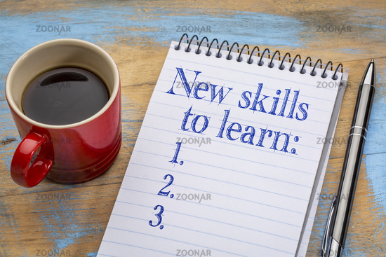 New skills to learn list in notebook