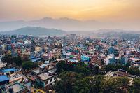 Patan at sunset in Nepal