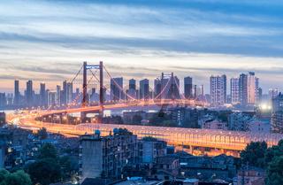 yingwuzhou yangtze river bridge in nightfall