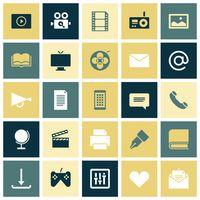 Flat design icons for media