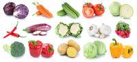 Gemüse Kartoffeln Karotten frische Tomaten Salat Kraut Collage Freisteller freigestellt isoliert