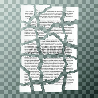 Torn paper pieces of text document on transparent background