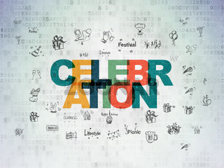 Holiday concept: Celebration on Digital Data Paper background