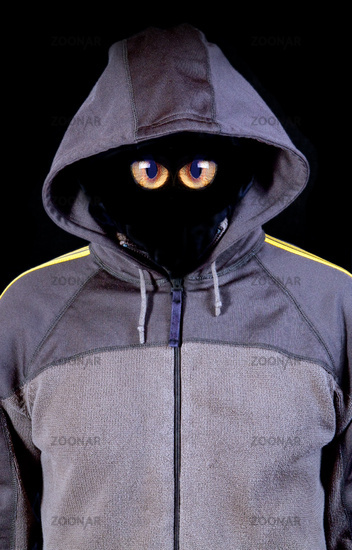 invisible face in a hood