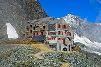 Mountain hut Britannia-Hütte, Saas-Fee, Valais, Switzerland