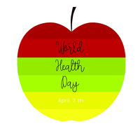 Colorful apple with text.